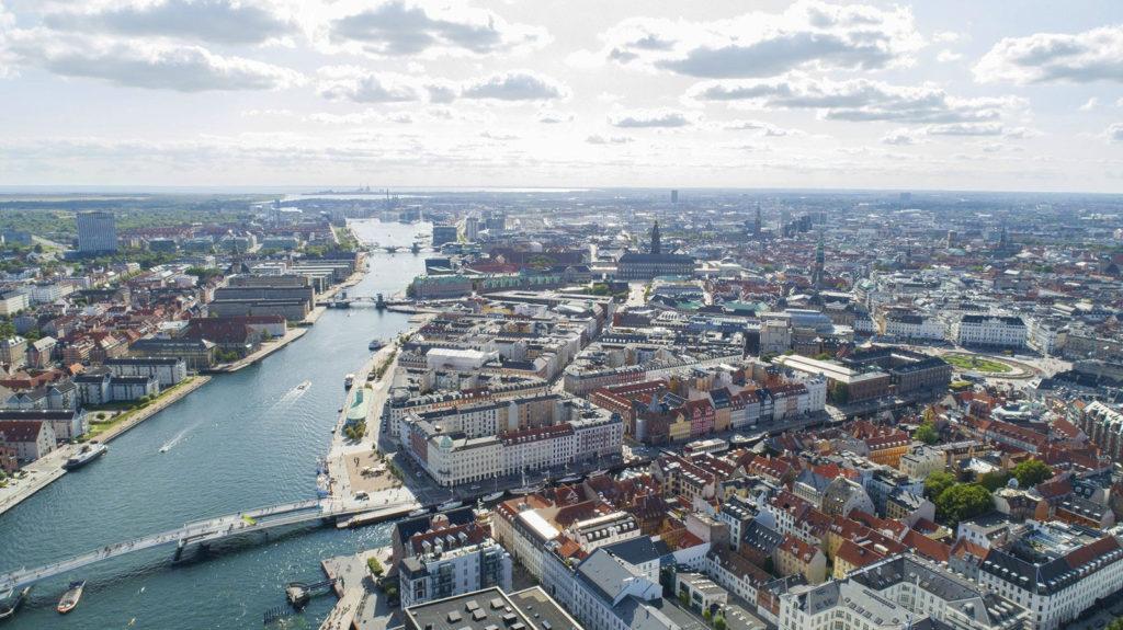 Город Копенгаген с птичьего полета