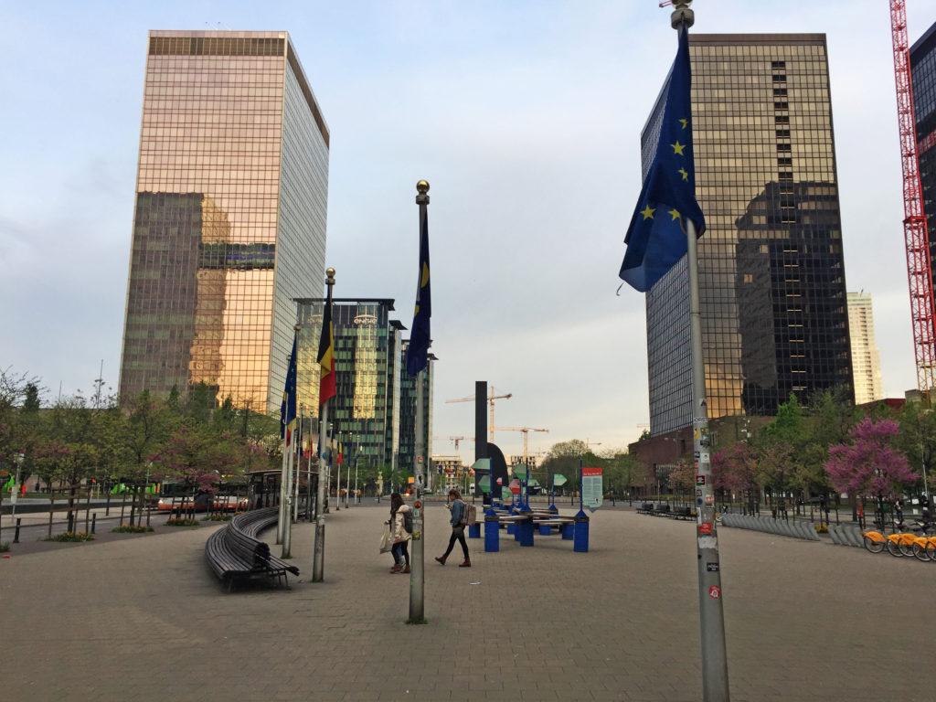 Вид на небоскребы в Брюсселе