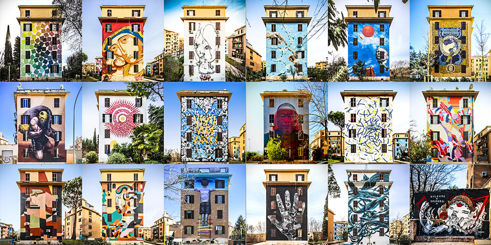 Дома с граффити в районе Остьенце