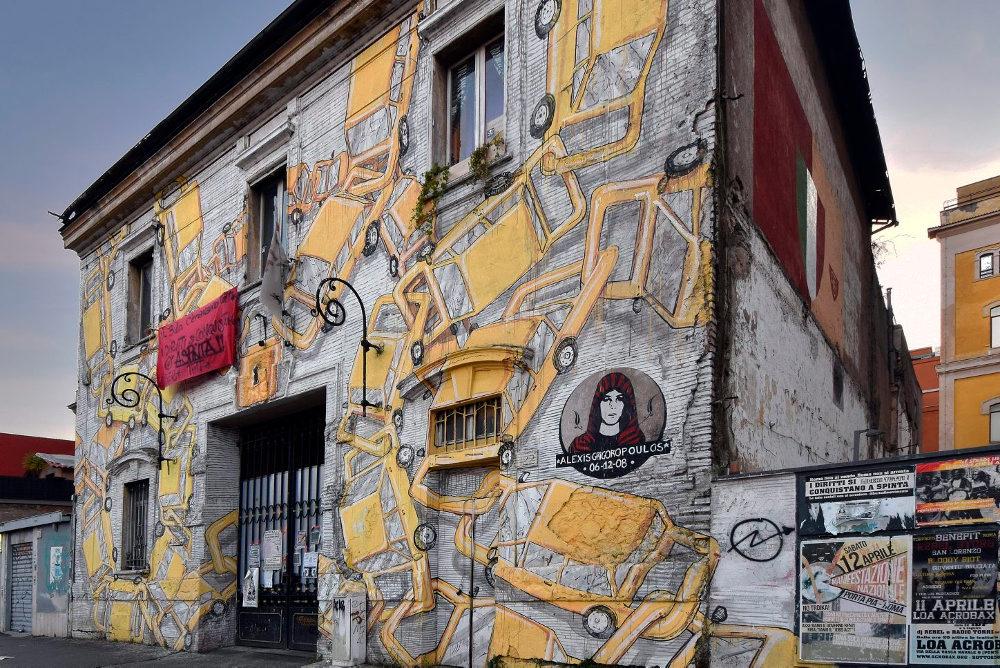 Район граффити в Остьенце в Италии
